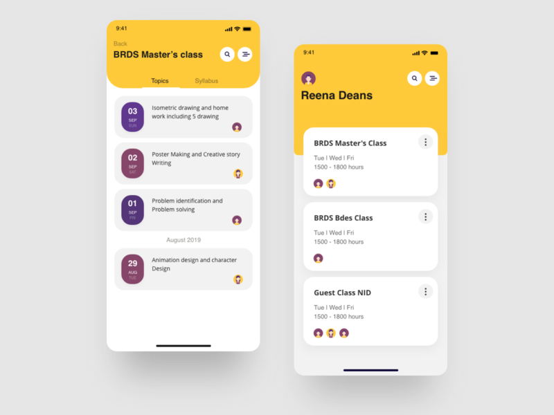 Teachers class and syllabus management app content material ui work student add collaborate calendar syllabus classes mobile teachers purple minimal app yellow ios interaction design ux ui design