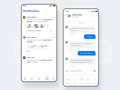Notification and Chat UI + 2 dribbble Invites social web responsive clean ui attachment upload app typography ios interaction design minimal design blue event product design mobile branding chat notification