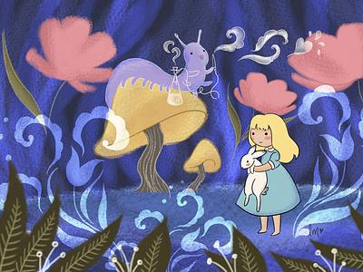 Alice in Wonderland Children's Book Illustration book cover design book design kidlitillustration kidlitart childrens book illustration childrens book illustration