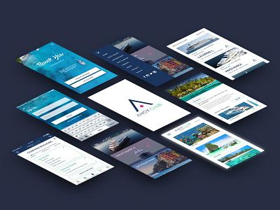 Perspective Screens for Yacht Charter App mobile design ux branding ui logo app