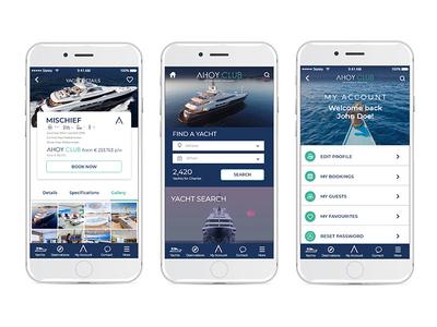Ahoy Club - My Account my account mobile app ui ux