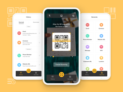 QR Scanner App concept ux design history scan generate listing category figma minimal clean ui scanner app ui mobile qr scanner qr code