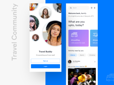 Travel Community Mobile App UI