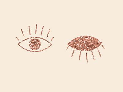 Rose gold eyez details branding illustration eye glitter