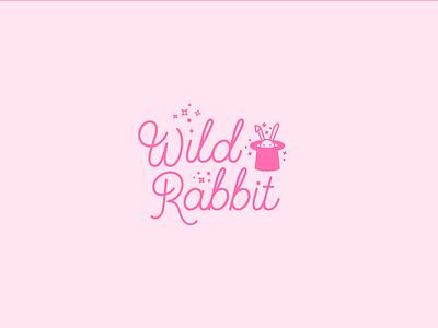 Wild Rabbit sparkles rabbit pink branding illustration lettering typography type script logo