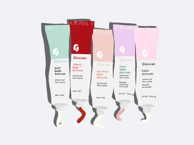 Glossier Balmdotcom Family Illustration glossier skincare makeup lip balm illustration design beauty product beauty