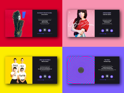 Love the color palette! singer slick simple rebound flat music bright bold color ux ui