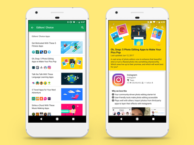 Google Play Editors' Choice recommendation store googleplay curation editor ui ux design google