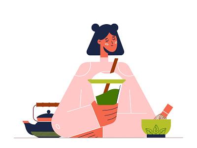 matcha tea lifestyle healthy smoothie people matcha character tea flat vector illustration design