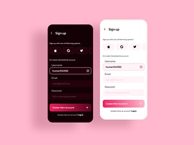 Sign up app design ux ui 001 dailyui