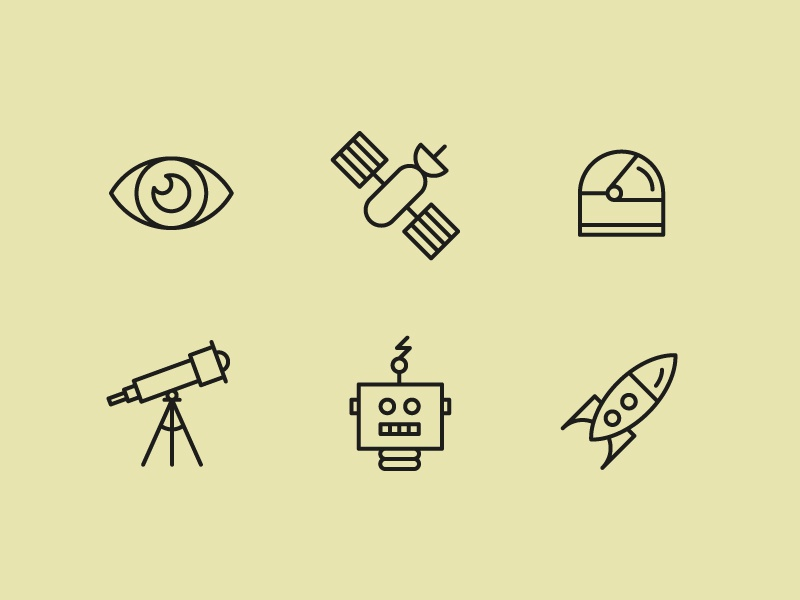 Space exploration icons space illustration eye satellite space helmet telescope robot space ship space exploration sci-fi