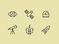 Space exploration icons