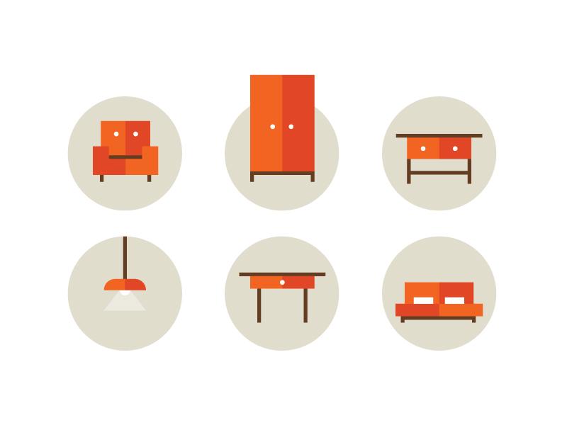 Furniture icon set furniture store icons illustration