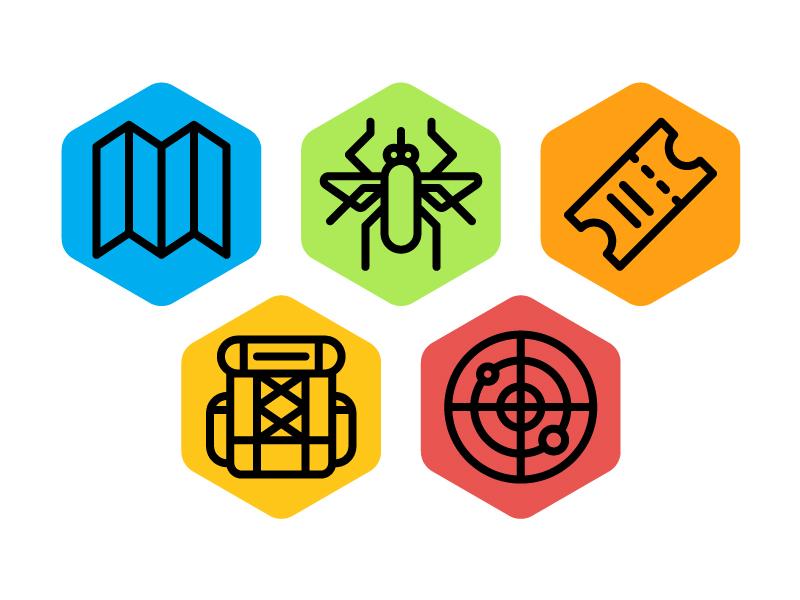 JurassicWorld.com icons radar bag ticket mosquito map icons jurassic world