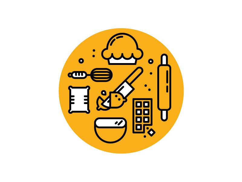 Just bakin' yo pie bake icons illustration