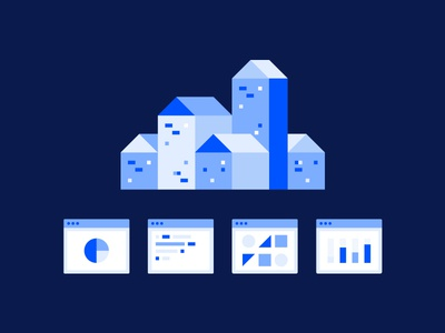 AT&T illos illustration icons code buildings analytics charts