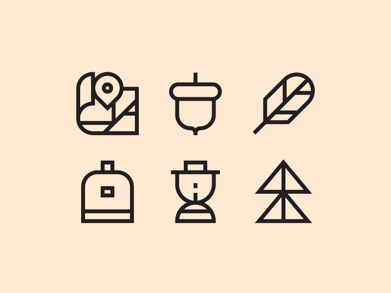 Education First icons forrest feather acorn map outdoor icons