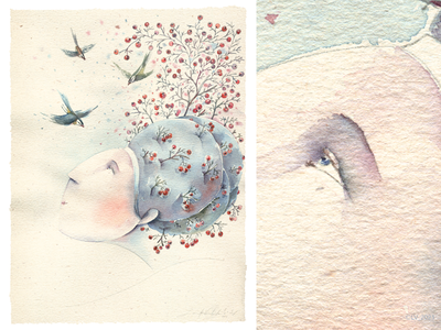 ŽIEMA  |  THE WINTER (2) color character watercolor paper pencil adobe photoshop character design nature graphic hand drawing drawing illustration