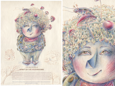 SPIRITS OF THE GARDEN. Spirit of the Mushrooms paper pencil color pencil watercolor pencils character design nature graphic hand drawing drawing illustration