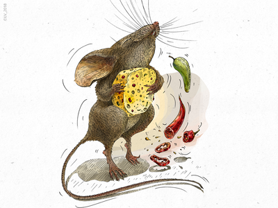 Mouse and cheese with chili (Veggo project) .psd adobe photoshop digital illustration food illustration cheese mouse character design ink hand drawing illustration drawing