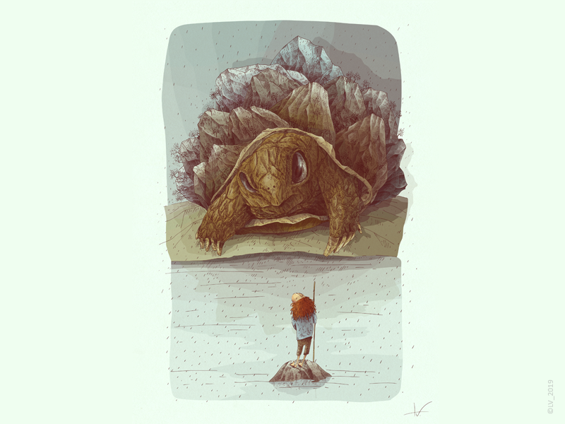 A turtle and a boy mountain turtle visual narrative visual story story imagination image wacom intuos ink character design adobe photoshop digital graphic nature hand drawing drawing illustration