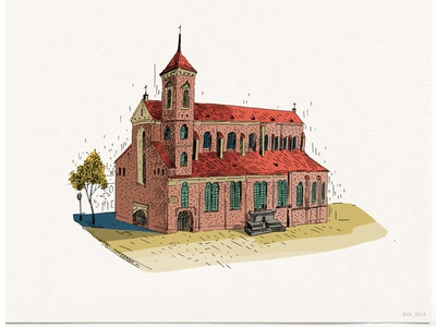 Kaunas Cathedral urbanistic drawing architecture ink illustration wacom intuos adobe photoshop digital hand drawing drawing illustration