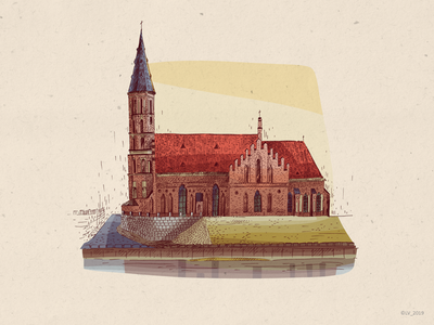 Architecture of Kaunas city lithuania kaunas church house picture image art city urban urbanistic architecture ink ink illustration wacom intuos adobe photoshop digital graphic hand drawing drawing illustration