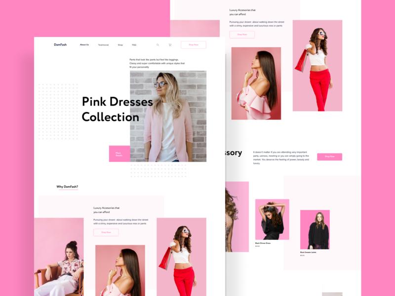 Fashion Website ui pink landing page fashion