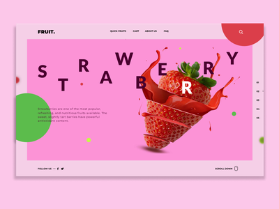 Fruit Page - Strawberry header hero strawberry figma shop landing page fruit