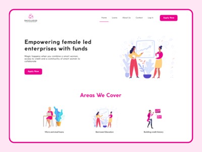 Shecluded: A Female Inclusive Loan Company illustration landing page design shecluded money fund figma ui ux female loan