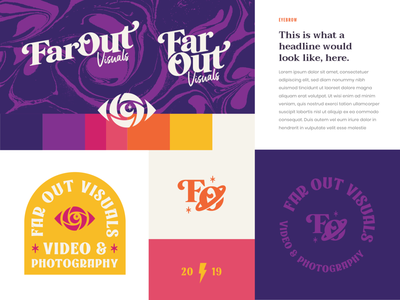 FarOut Visuals Brand assets serif wordmark logos logo brand design groovy retro space star eyeball eye brand identity branding brand space freelancer photography videography visuals far out farout