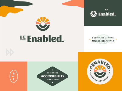 BeEnabled Brand brand assets logo symbol logo mark tagline monogram accessibility accessible disability disabled enabled be enabled badge logo brand branding