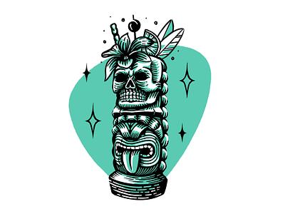Tiki, Baby. hawaiian tiki mug garnish tiki bar skull procreate illustration print drink retro model midcentury illustration cocktail aloha