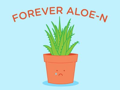 Forever Aloe-n frown sad line illustrator forever alone character illustration aloe plant