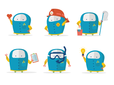 Lil' robot guy, part deux ohio columbus flat vector illustration vector poses brand illustrate mascot robot character illustration