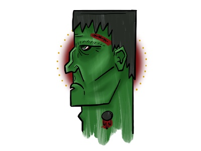 Monster horror scary green halloween digital illustration illustration ipad pro frankenstein monster