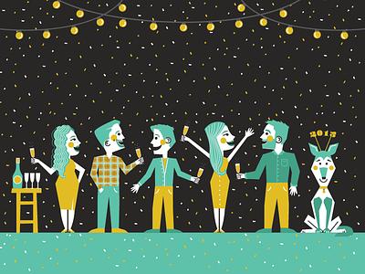 Throwback holiday card! dog agency columbus celebrate celebration character illustration vector illustration new years party christmas holiday illustration