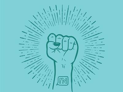 Women In Digital illustration starburst fist illustration girl power feminist power conference ohio columbus women