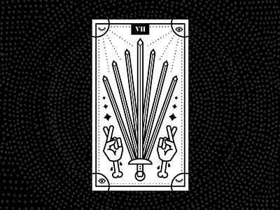Seven of Swords design fingers crossed hands line illustration vector illustration psychic tarot card seven swords seven of swords tarot illustration