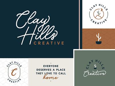 Clay Hills Creative Brand lettering hand lettering patterns icon monogram tagline interior design cactus badge brand logo branding