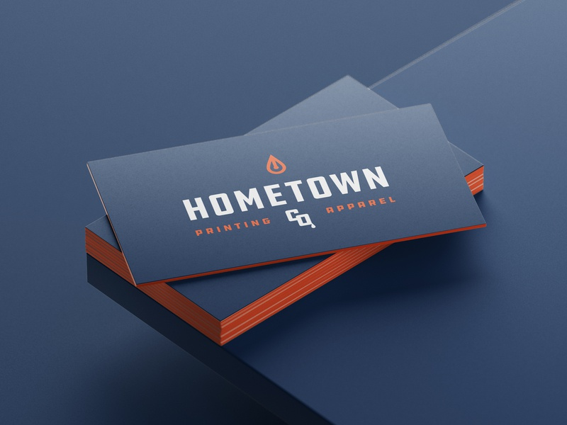 Hometown Co. Business Card ddc identity logo bold thick lines paint screenprinting branding brand busines card