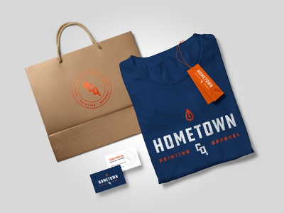 Hometown Co. branded items brand flatlay layout shop screenprinting business card hang tag tag design tshirt design shopping bag packaging bag design bag identity branding