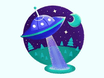 UFO 2 moon night star texture retrosupplyco ipad procreate blue space alien ufo vector illustration