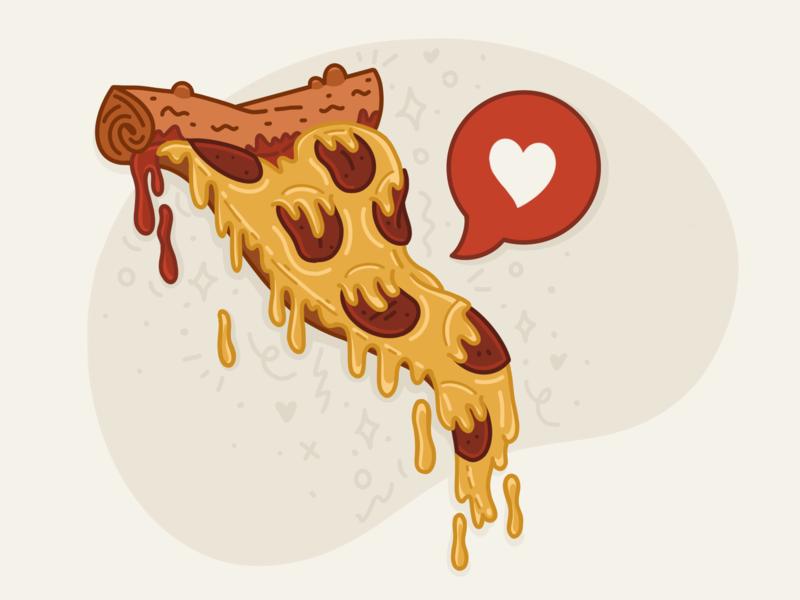 True love sauce junk food food ipad procreate illustration drip cheese crust ninja turtle pepperoni heart true love love pizza