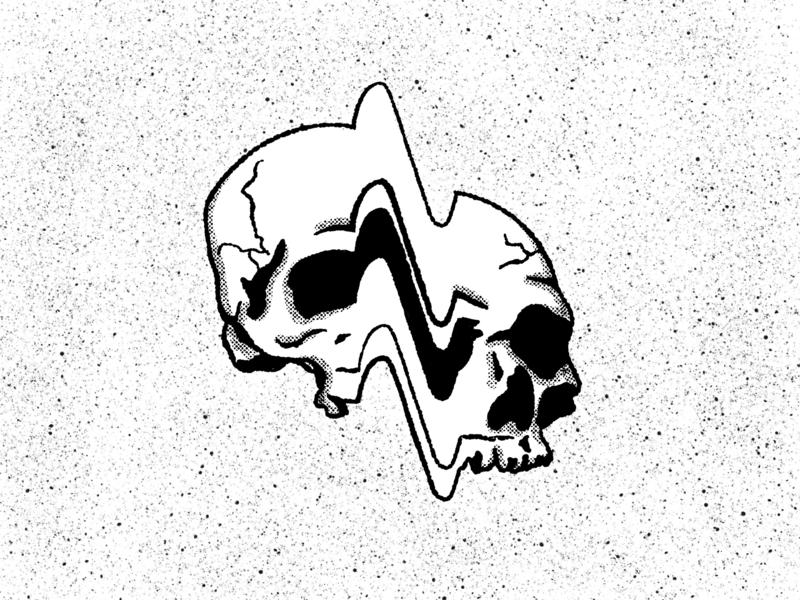 Glitch dead creepy creep halftone handdrawn illustration black and white wave grit texture grunge skulls glitch skull