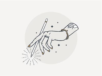 Lefty mystical ring star feminine draw tattoo left hand magic hand brand illustration