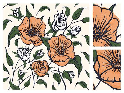 Flora nature floral art flower buds leaves halftone illustration procreate ipad pro sketch floral flowers