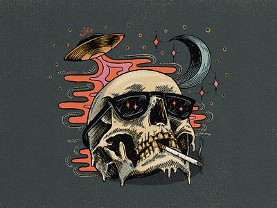 Spooky Scary Skeleton texture skull illustration procreate illustration ipad illustration illustration halloween alien abduction cosmic moon spooky skeleton skull