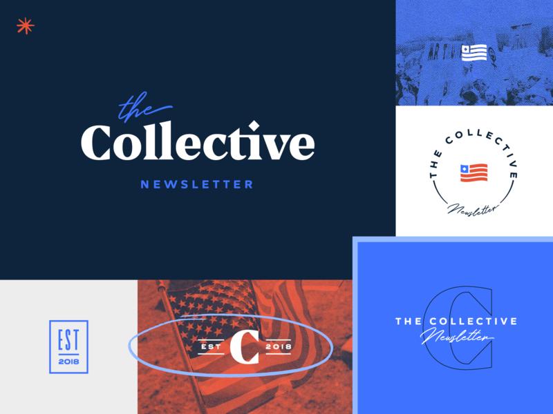 The Collective Brand Identity seal flag logo marks logotype serif logo logo design logo halftone newsletter political brand politics political brand identity branding design brand design branding brand