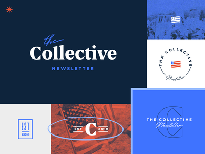 The Collective Brand Identity seal flag logo marks logotype serif logo logo design logo halftone newsletter political brand politics political brand identity branding design brand design branding brand